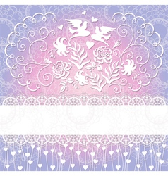 Wedding background with flowers and pigeons vector image