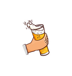 cartoon hand holding mug of beer with foam vector image