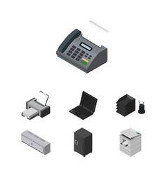 Isometric work set of laptop strongbox office vector