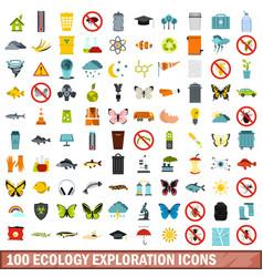 100 ecology exploration icons set flat style vector image