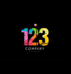 123 number grunge color rainbow numeral digit logo vector image
