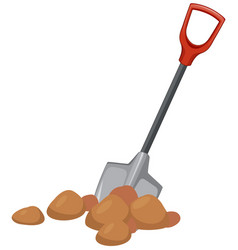 A shovel digging ground vector
