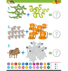 Addition game with animals vector