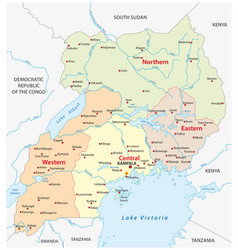 administrative and political map of uganda vector image