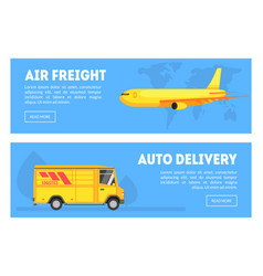 Air freight auto delivery horizontal banners set vector