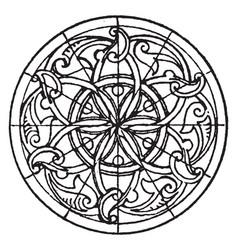 Arabian bas-relief circular panel is a 14th vector