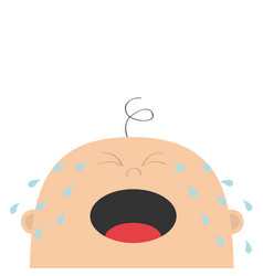Bacrying tears kid face looking up cute vector