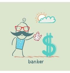 Banker watering Dollar vector