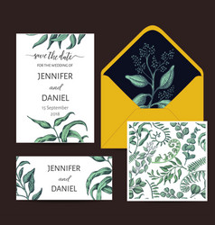 banner with flowers end leafs wedding invitation vector image