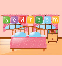 Bedroom with bed and other furnitures vector