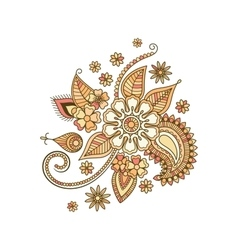 Beige colorful decorative floral isolated element vector