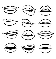 black and white comic female lips set vector image