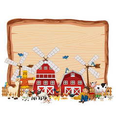 Blank wooden board with animal farm isolated vector