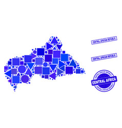 Blue geometric mosaic central african republic map vector
