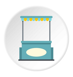 Blue shopping counter with tent icon circle vector