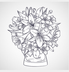 bouquet of flowers of lily and sakura vector image