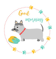 bright card with terrier and text good morning vector image