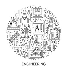 building and science engineering industries line vector image