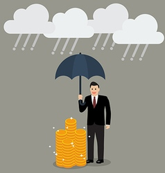 Businessman with umbrella protecting his money vector image vector image