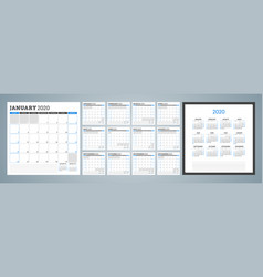 Calendar planner for 2020 year week starts on vector