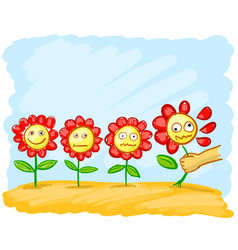 cartoon flowers in the meadow vector image