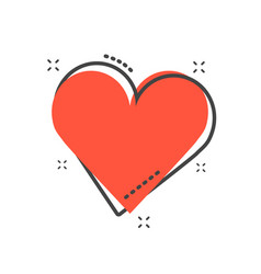 cartoon heart icon in comic style love sign vector image