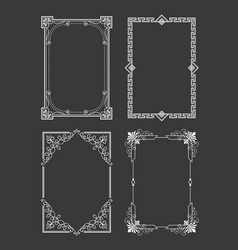 Chalk style set vintage frames decorative border vector