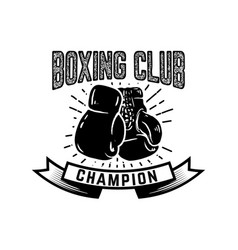 Champion boxing club emblem template with boxer vector