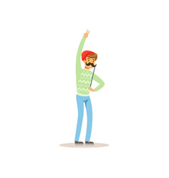 Cheerful hipster holding funny mustache on stick vector
