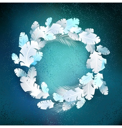circle white feathers vector image