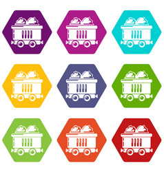 coal car icons set 9 vector image