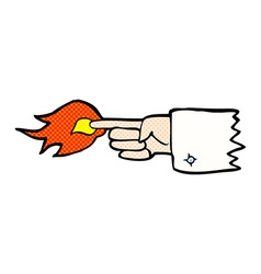 comic cartoon flaming pointing finger symbol vector image