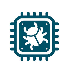 Cpu icon with computer bug sign vector