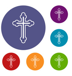 crucifix icons set vector image