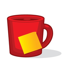 Cup with stick note vector