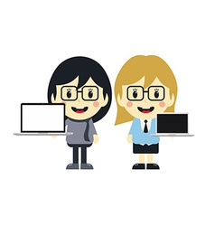 cute girl with laptop cartoon character vector image