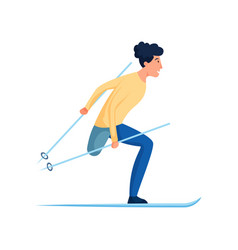 cute smiling man with amputated leg winter skiing vector image