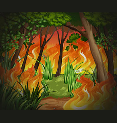 dangerous wildfire forest background vector image