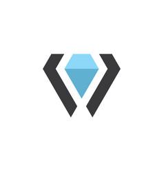 diamond letter v gemstone jewelry logo icon vector image