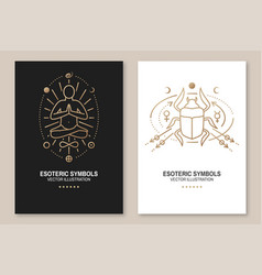 esoteric symbols poster thin line vector image