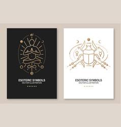 Esoteric symbols poster thin line vector