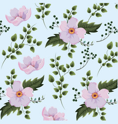 Exotic flowers plants with branches background vector