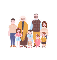 family portrait grandparents and grandchildren vector image