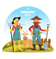 farmer with goat and girl near hay heaps vector image