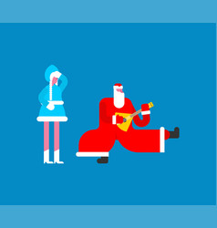 Father frost dancing russian santa claus snow vector