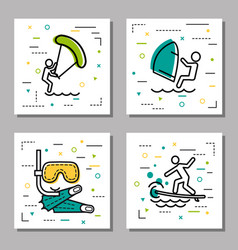 four sea water activity linear icons vector image