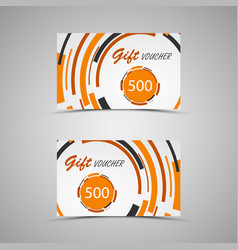 gift voucher with abstract orange circles vector image