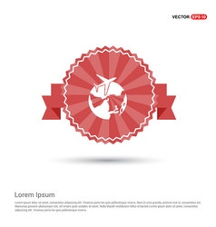 globe icon with plane - red ribbon banner vector image