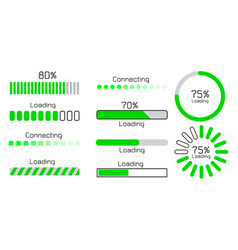 Green loading and connecting sign vector