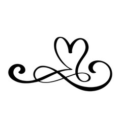 hand drawn love border flourish heart separator vector image